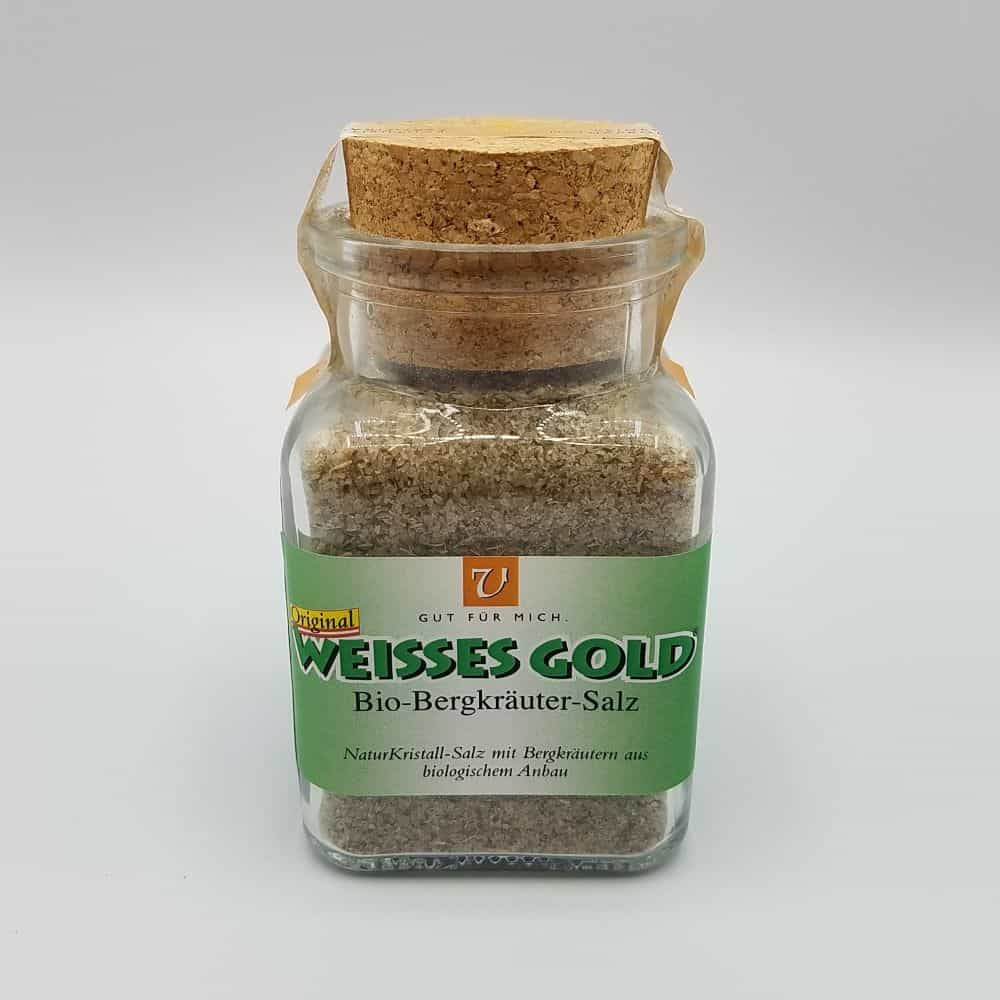 Glas mit 150g Berkräuter Naturkristall Salz