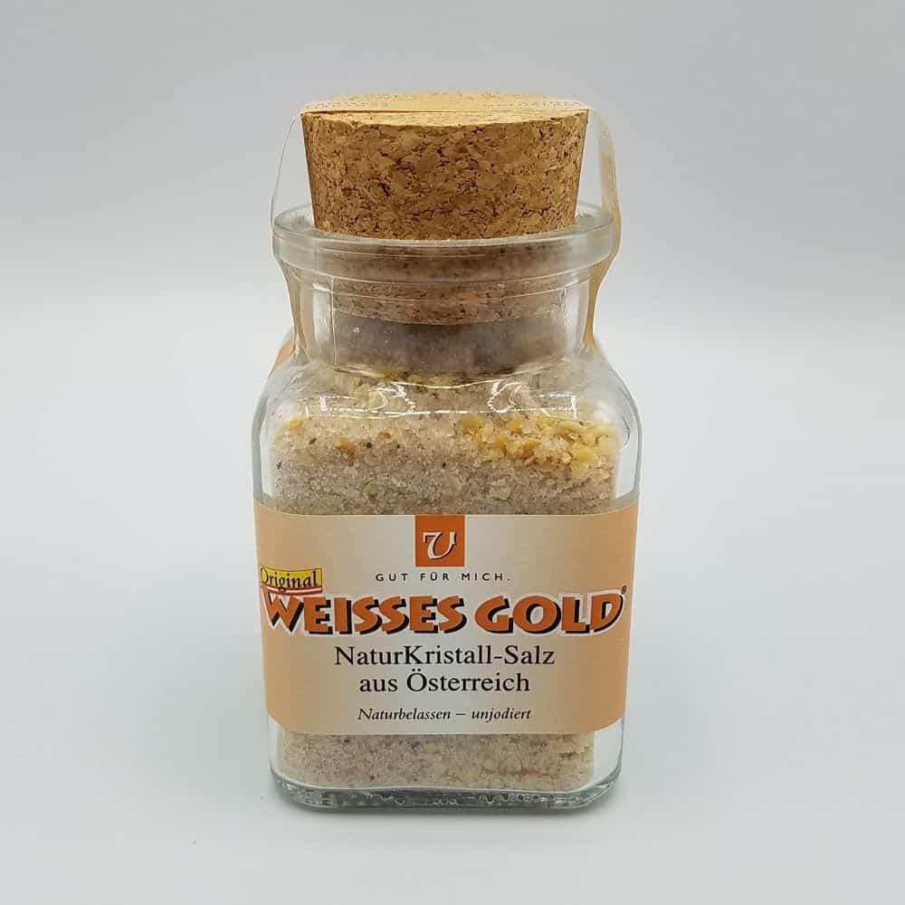 Glas mit 150g Knoblauch NaturKristall Salz
