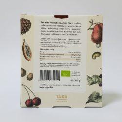 Rückansicht Sibirische Zedernüsse in Edelbitter-Schokolade