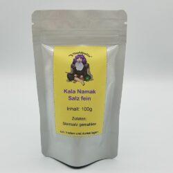 Beutel mit 100g Kala Namak Salz fein